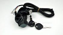 Gázkar töltöttség visszajelzővel és gyújtáskapcsolóval (tolattyús) - elektromos kerékpárhoz